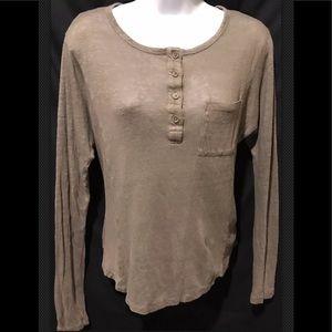 VINCE Linen Henley Women's Dolman Brown Sweater
